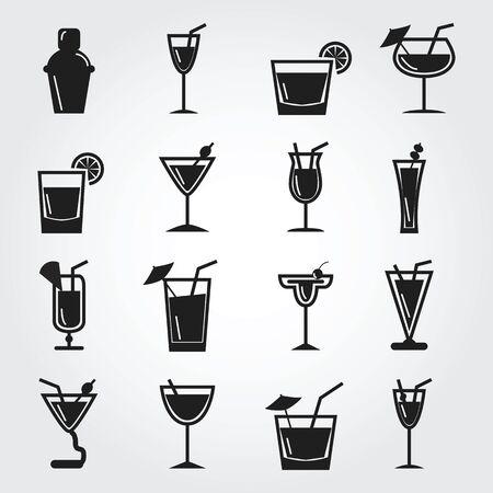margarita cocktail: Iconos c�ctel Foto de archivo