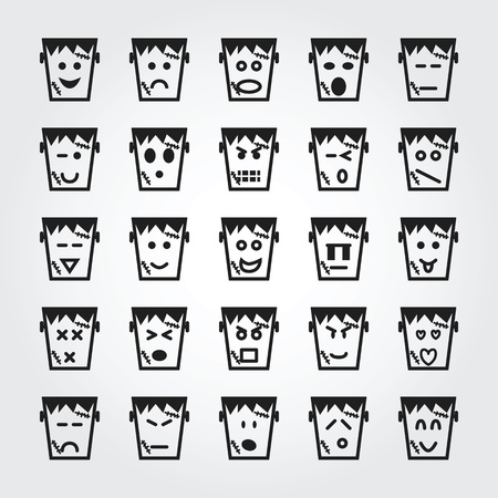 frankenstein face icons Stock Photo