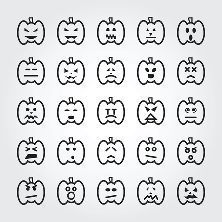 wicked set: halloween pumpkin face icons Stock Photo