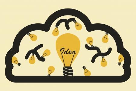 energysaving: Light bulb with brain. idea concept Stock Photo