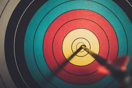 Arrow hit goal ring in archery target vintage style