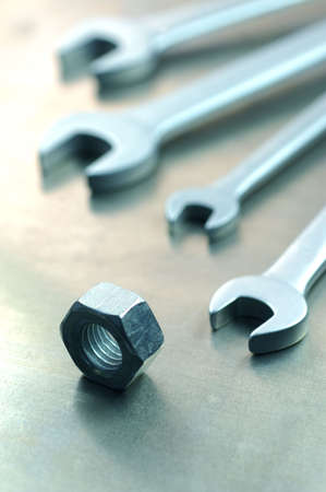 crescent wrench: Spanner with nuts and bolts. Combination of spanners.