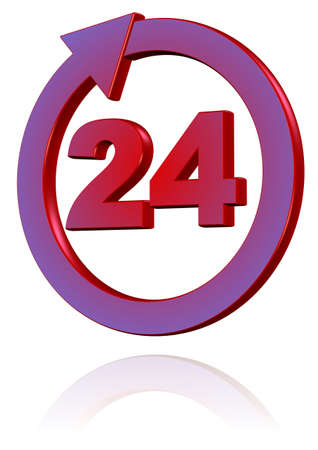 The logo of round-the-clock. The symbol of 24 hours service. Stock Photo