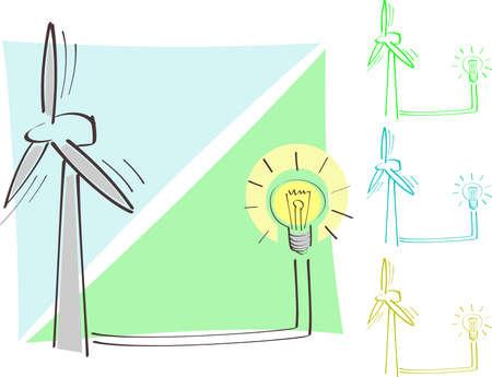renewal: the symbol of wind power Illustration