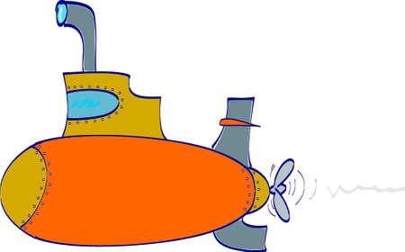 The submarine float under water.