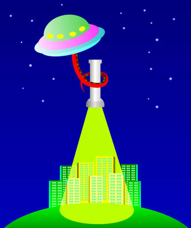 The UFO under city Vector