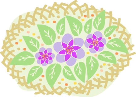floriculture: It is a bed with flowers. It is a floriculture theme. Illustration