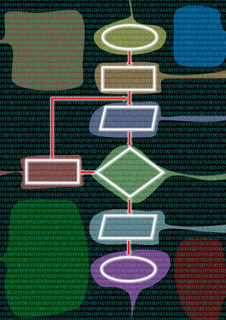 The multicolor flow chart with digital background Stock Photo - 9606011