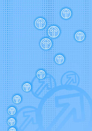 abstract blue background with arrows and dots