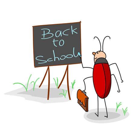 bug writes on a board