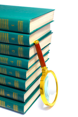 green books and magnifier