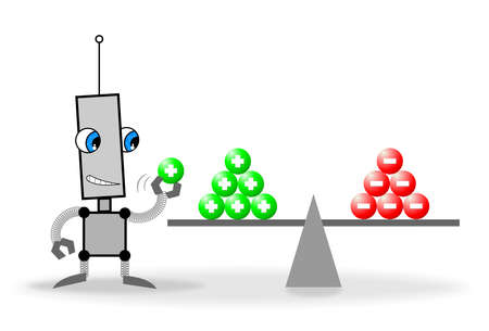 The robot evaluates the pros and cons Stock Photo