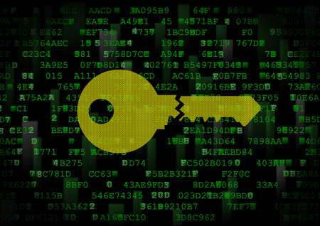 It is a symbol of a wrong digital key. This is a computer security theme. Stock Photo