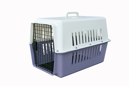 Dierbenodigdheden over reizen: Pet carrier voor reizen met een huisdier op geïsoleerde wit Stockfoto