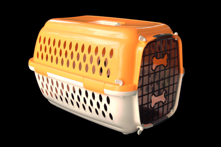 Pet supplies about travel : Pet carrier for traveling with a pet on isolated black
