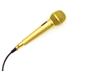 Microphone Gold on isolated white.  Entertainment and sound concept