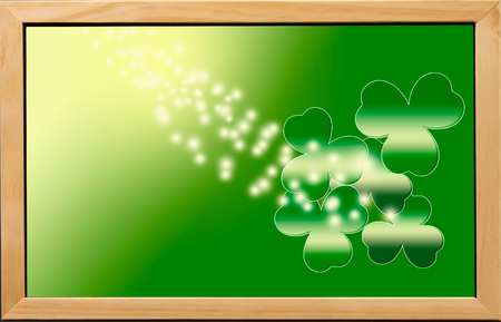 Happy St. Patrick s Day with shamrocks for background. Stock Photo