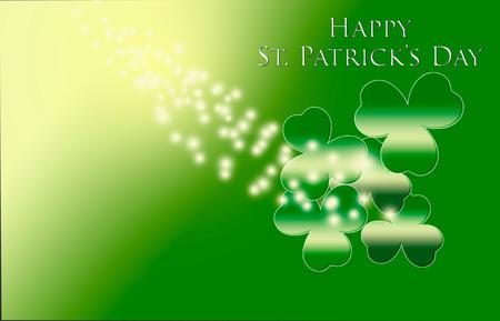 Happy St. Patrick 's Day with shamrocks for background. Stockfoto