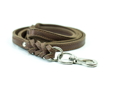 Pet leash of brown leather isolated on white background.  Concept pet supplies about leash. Stock Photo