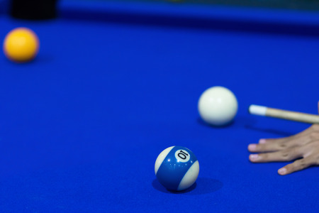 Blue Pool table with balls. This is sports. Banque d'images