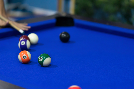 Blue Pool table with balls. This is sports. Stock Photo