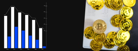 Gold bitcoin on Bank account with graph in concept savings electronic money for future.
