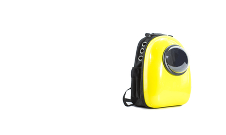 Bag yellow for pet traveling isolated on white.  Concept about dog or cat for travel.