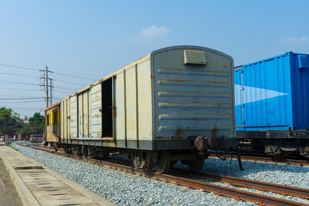 Train wheels on tracks with train bogie