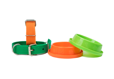 Pet collars and bowls for food on isolated white background.  Pet supplies concept