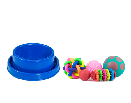 Pet accessories concept.  Pet bowls with toy isolated on white background.