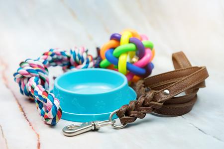Concepto de suministros para mascotas. Correas de cuero para mascotas, cepillo y juguete de goma.
