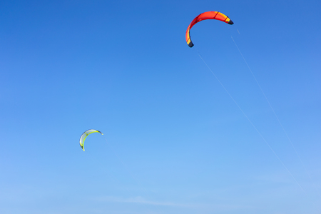 Kitesurf with blue sky. Summer holiday concept