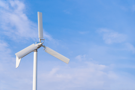Wind turbine with blue sky background Banco de Imagens