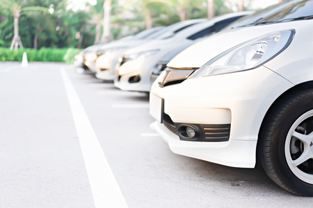 Cars in parking at public park