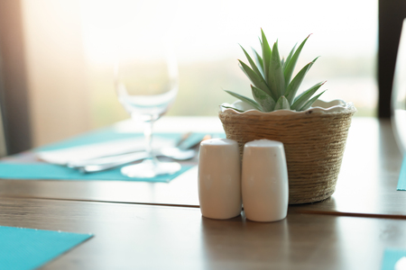 Luxury dining table decor at home. Stock Photo