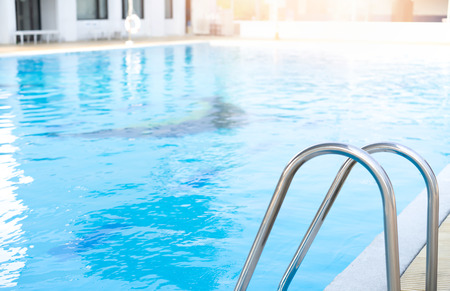 Grab bars stainless in the pool 스톡 콘텐츠 - 124977172