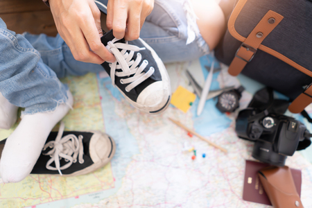 Tie a shoe with accessories for travel