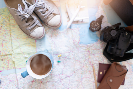 Travel accessories for vacation trip Imagens
