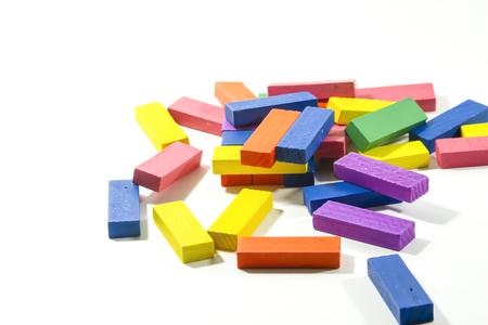 Wood block toy on isolated white background. Stock Photo - 124977381