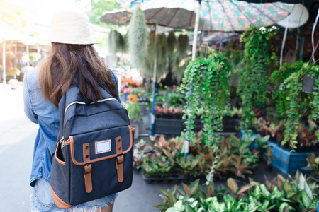 Asian woman with backpack for travel