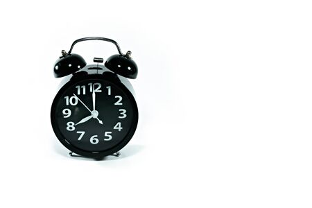 Alarm clock with copy space on isolated white background