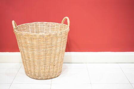 Wicker basket in laundry room