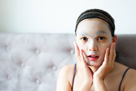 Cosmetic Mask on Face treatment women.  Beauty and fashion concept