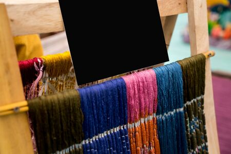 Thai silk fibers with mock up for background