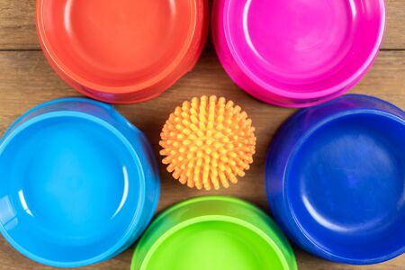 Toy and Plastic bowl on wooden table for pets.  Object for dog or cat concept Archivio Fotografico - 130791981