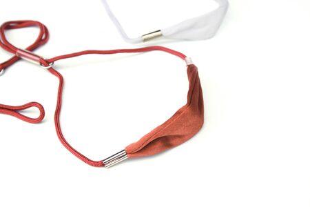 Pet leashes on isolated white background. Training dog concept Archivio Fotografico - 130790730