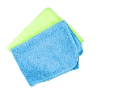 Microfiber cleaning cloth of blue and green on isolated white