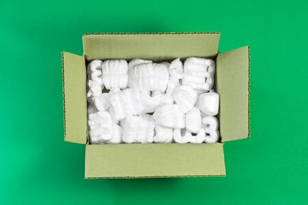 Peanuts foam in cardboard box