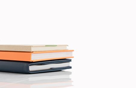 Stacked book on isolated white background