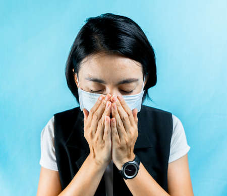 Woman feel sick and wearing health masks